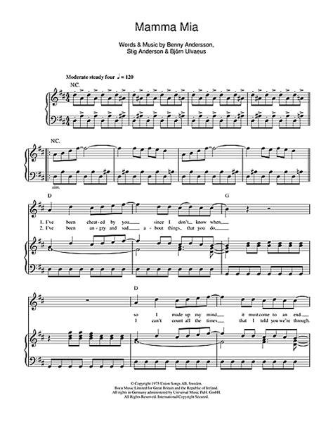 tutorial piano mamma mia mamma mia sheet music by abba piano vocal guitar