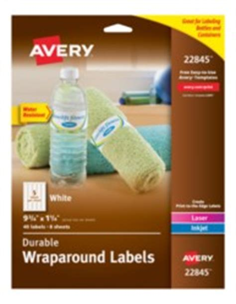 Avery Durable White Wraparound Labels Small Water Bottle Label Template