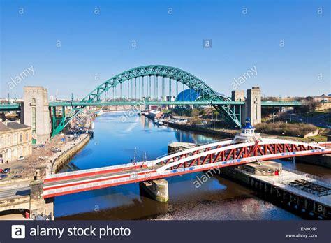 river tyne swing bridge newcastle upon tyne city with tyne bridge and swing bridge
