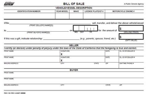 printable bill of sale car california california bill of sale form