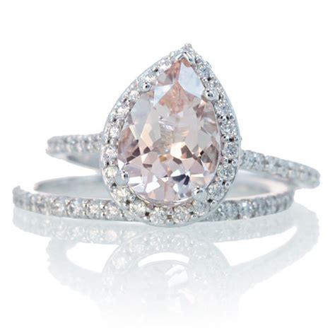 Bridal Set With Matching Band Morganite Engagement Ring By