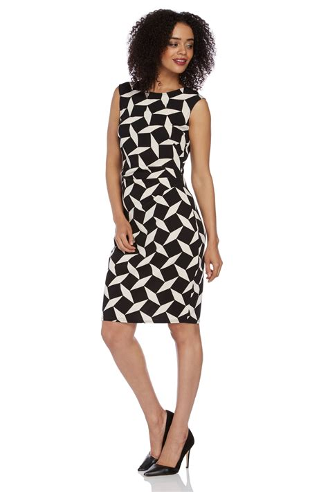 Geo Print Dress textured geo print dress in black romanoriginals co uk