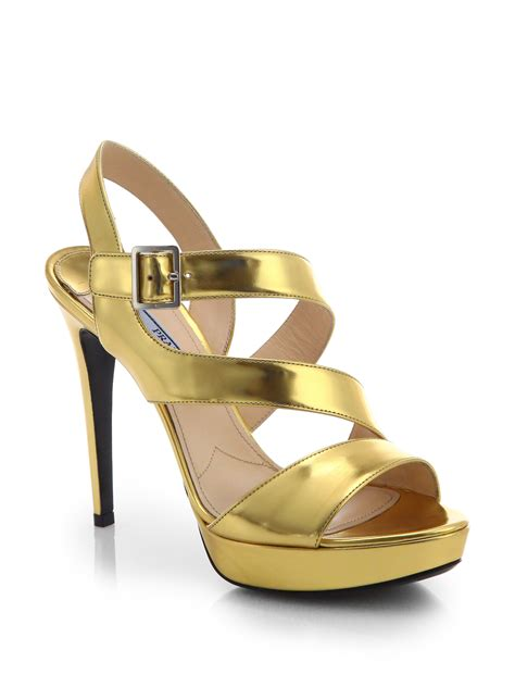 leather strappy sandals prada strappy metallic leather sandals in metallic lyst