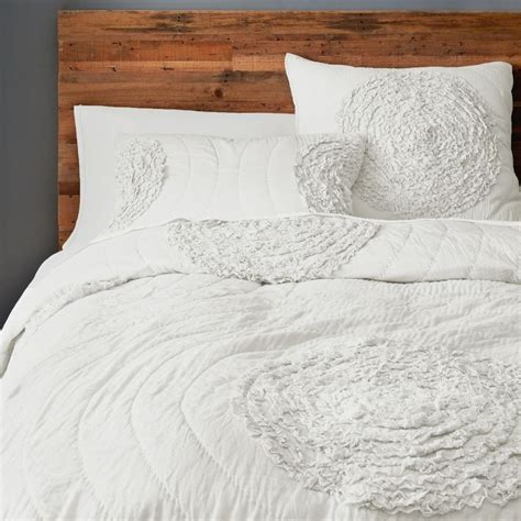 Ruffle Quilt Set by Free Shipping Applique White 230 250cm Ruffle Quilt Bedding Set In Quilts From