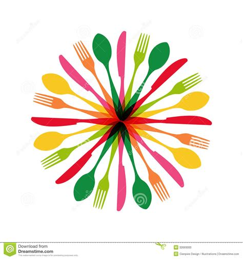 design free stock photo illustration of a colorful cutlery circle shape illustration stock vector