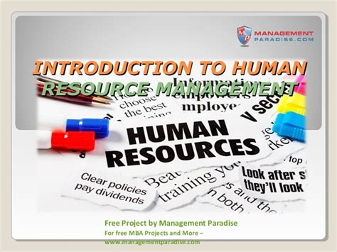 Mba Human Resource Management Projects Free by Ppt On Introduction To Human Resource Management