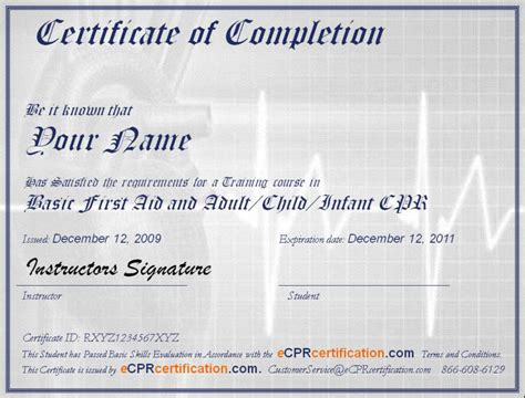 first aid certificate template online cpr first aid