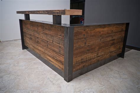 Metal Reception Desk Ada Reclaimed Reception Desk With Metal Wrap