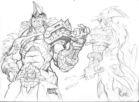 Aztec Warrior Sketch By Trifozard On Deviantart Aztec Warrior Sketches