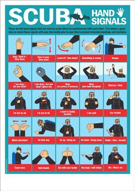 scuba hand signals chart safety poster shop