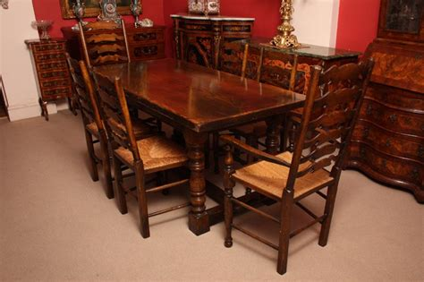 vintage solid oak refectory dining table 6 chairs