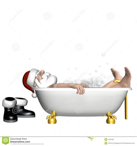 santa in bathtub santa relaxing 3 stock illustration image of sleep jolly