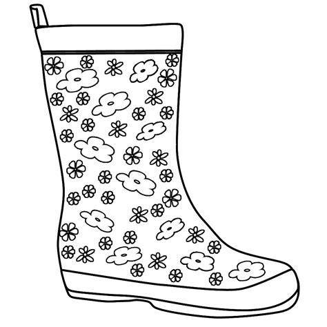 coloring page of rain boots rain boots template invitation templates autumn k
