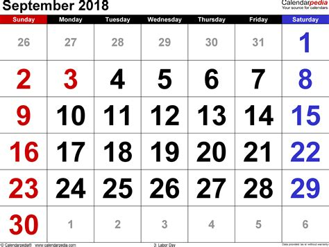 September 2018 Calendar September 2018 Calendars For Word Excel Pdf