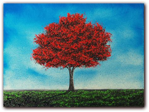 original red tree painting colorful oil painting of tree