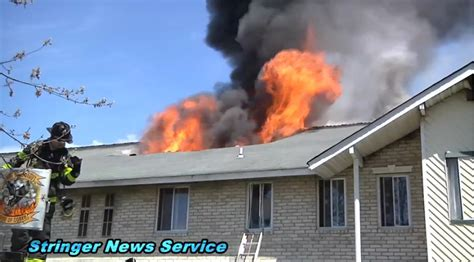 Raw video: Apartment fire in Coram, NY with evacuation