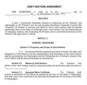 Joint Venture Agreement Template Free by Sle Joint Venture 9 Free Documents In Pdf Word