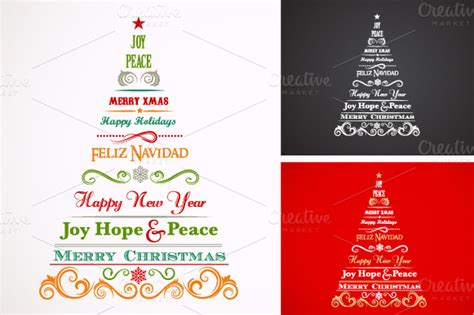 vintage christmas trees with text illustrations on
