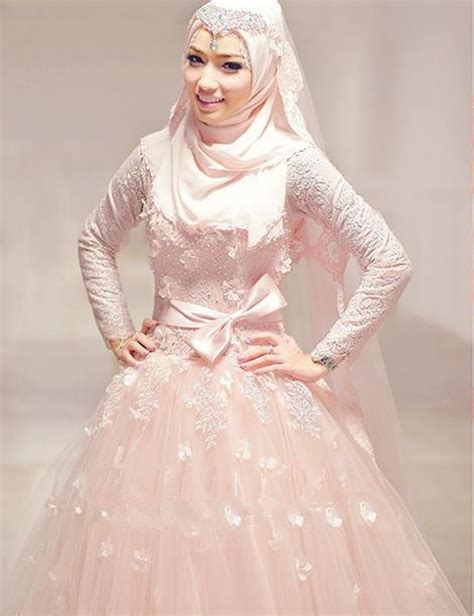 design dress bridesmaid muslimah sexy high neck floor length long sleeve blush pink muslim