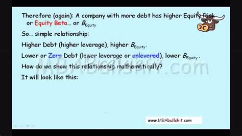 Mba Bullshit Cok by Beta Levered Vs Unlevered Preview At