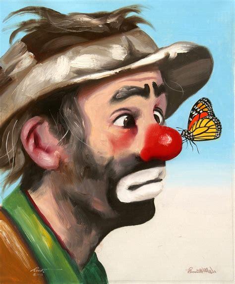 clown paint emmett jr autographed 24x20 circus clown by rustyart