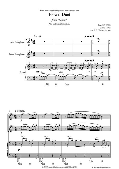 song duet the flower duet lakme alto tenor sax piano sheet