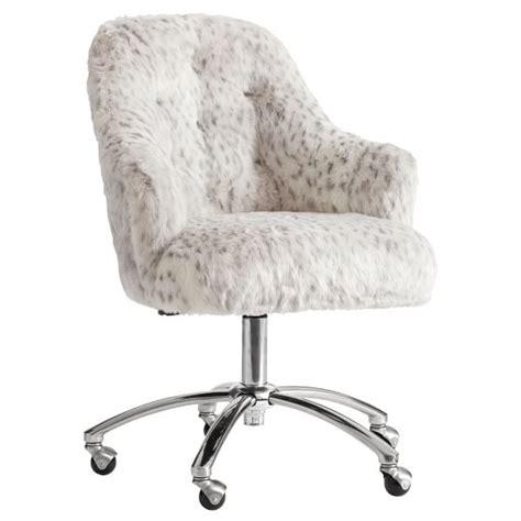 faux fur desk chair gray leopard faux fur tufted desk chair pbteen