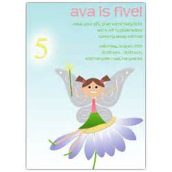 fairy fun brunette 5th birthday invitations paperstyle