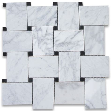 carrara white large basketweave mosaic tile w black dots