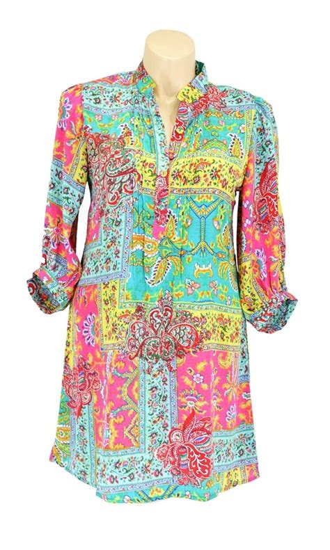 pink pattern tunic bright bubbly multi colour abstract floral paisley