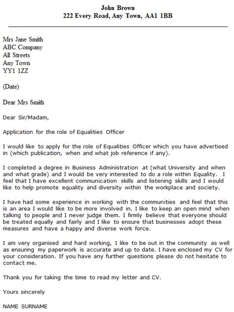 cover letter for probation officer equalities officer cover letter exle icover org uk