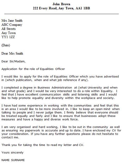 Cover Letter For Probation Officer Internship Equalities Officer Cover Letter Exle Icover Org Uk