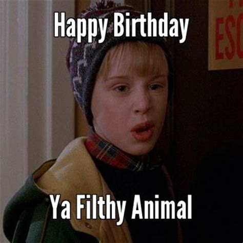 Happy Bithday Memes - ya filthy animal funny happy birthday meme