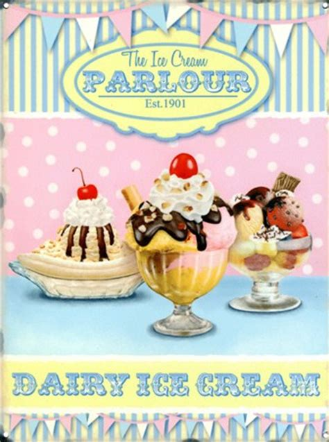Retro Wall Murals the ice cream parlour dairy delights tin sign buy online