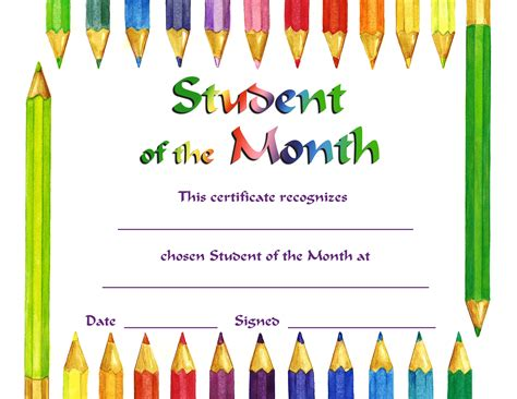 student of the month certificate templates free student of month certificate template 470804