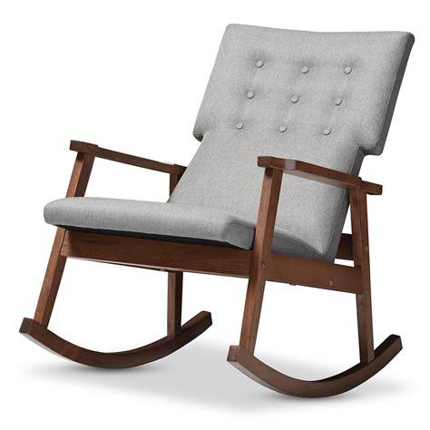 bench rocker baxton studio agatha mid century modern grey fabric