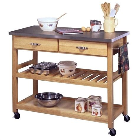 kitchen islands and carts furniture home styles furniture stainless steel natural finish kitchen cart ebay