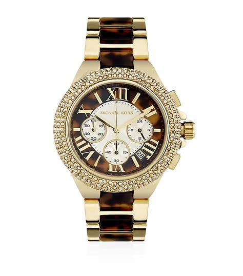 Michael Kors Uhr Gold Weiß by Michael Kors Camille Glitz Chronograph In Gold Lyst