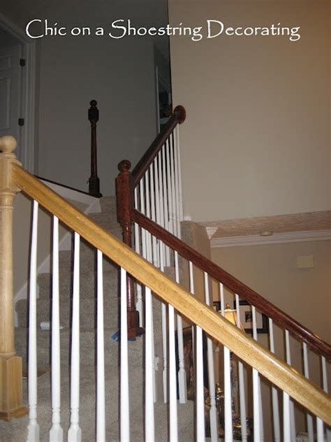 how to refinish stair banister refinishing my ugly oak banister on a budget house