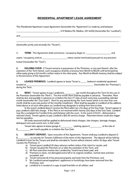 apartment lease agreements apartment lease agreement free printable exle mughals