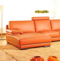 2227 contemporary orange leather sectional sofa
