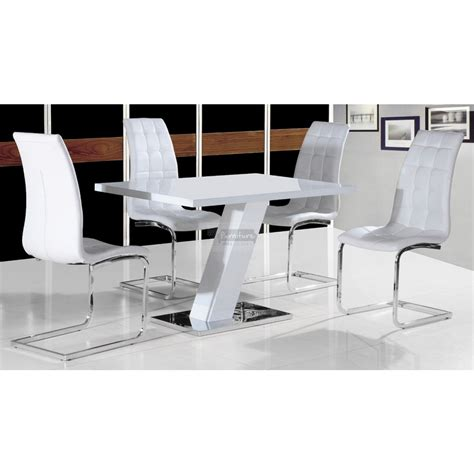 Aliyah White Gloss Dining Table 4 Leather Chair Set White Chairs For Dining Table