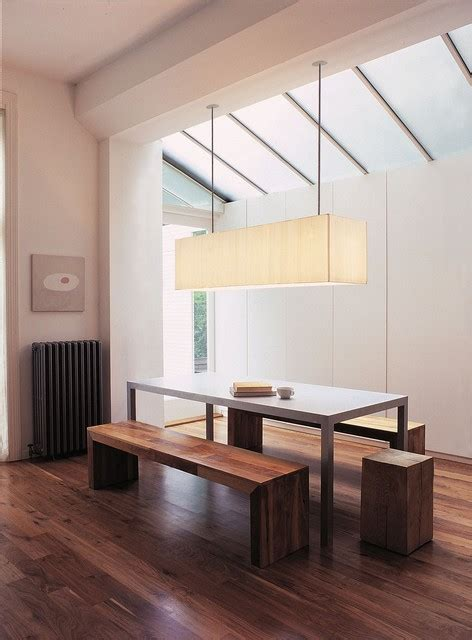 recreate a room wood bench linear pendant dining room