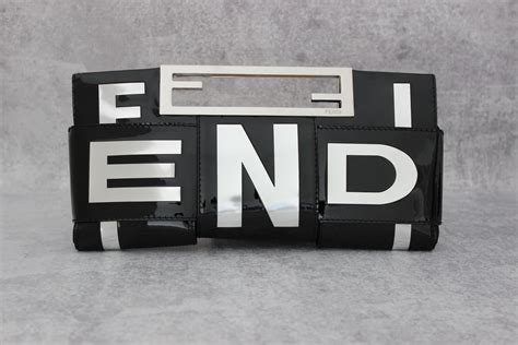 Fendi Crossword Patent Clutch by Fendi Black Silver Patent Leather Crossword Clutch At