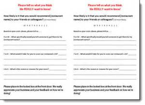 comment cards templates 5 restaurant comment card templates formats exles in