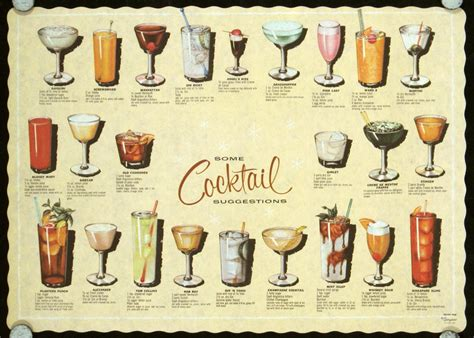 vintage cocktail party vintage 1950s cocktail placemat menu classic cocktails