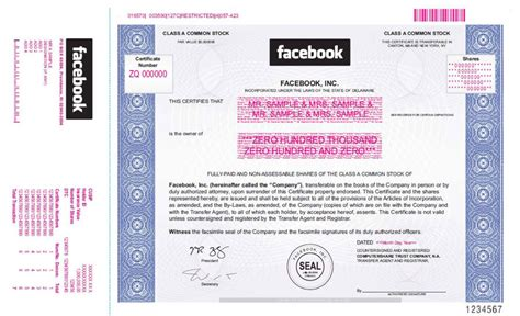 Facebook Stock Certificate: This Is What A Real Share