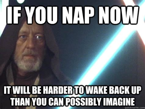 Nap Meme - if you nap now it will be harder to wake back up than you