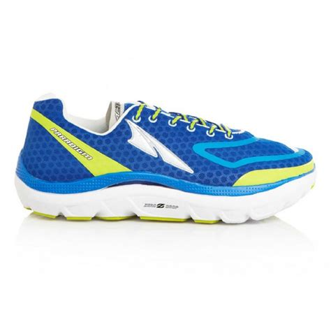 zero drop cushioned running shoes buy altra paradigm shoes in blue yellow mens from northern