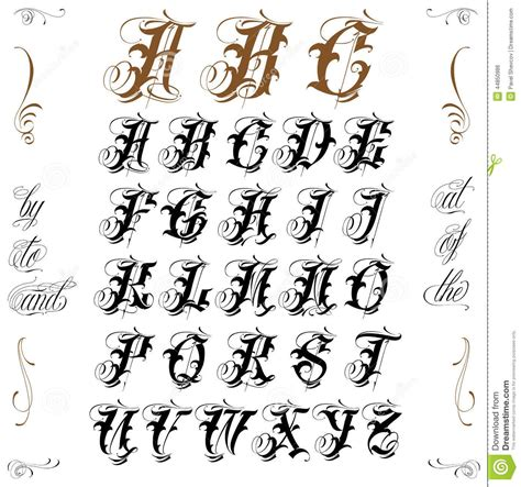 tattoo fonts abc lettering stock vector image 44850986 tatts